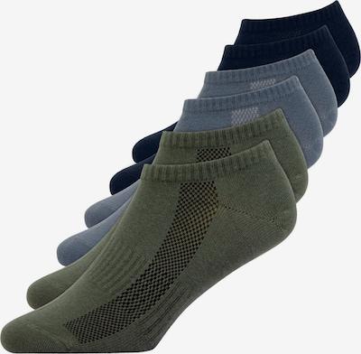 SNOCKS Sneakersocken in dunkelblau / grau / oliv: Frontalansicht