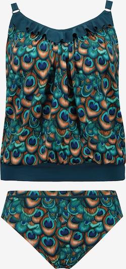 Ulla Popken Tankini in de kleur Donkergroen / Abrikoos / Zwart, Productweergave