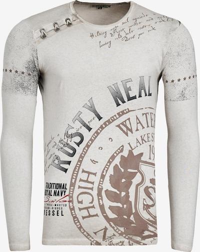 Rusty Neal Longshirt Oil Washed mit Knopfleiste in beige: Frontalansicht