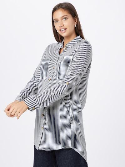 VERO MODA Bluse 'BUMPY' in dunkelblau / weiß, Modelansicht