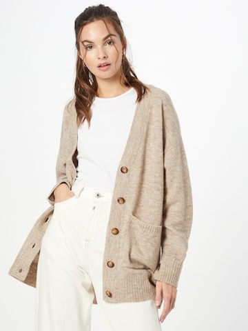 ABOUT YOU Knit Cardigan 'Rita' in Brown