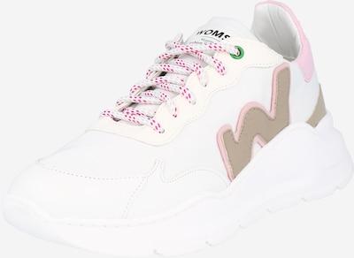 WOMSH Baskets basses en beige foncé / rose / blanc, Vue avec produit