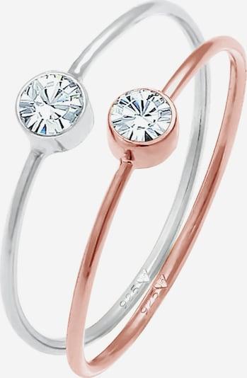 ELLI Ring Kristall Ring, Solitär-Ring in rosegold / silber, Produktansicht