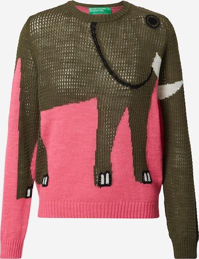 UNITED COLORS OF BENETTON Pullover i khaki / pink / sort / hvid: Frontvisning