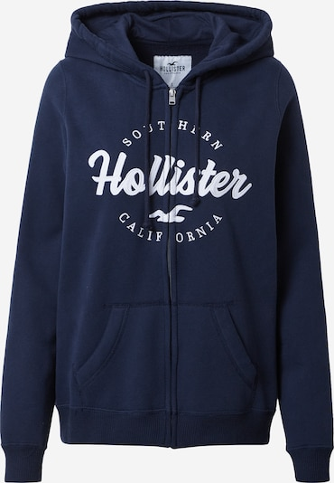 HOLLISTER Sweat jacket in navy / white, Item view