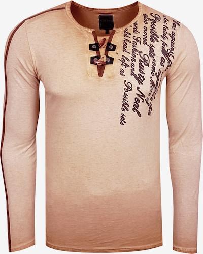 Rusty Neal Langarmshirt in hellbraun / schwarz, Produktansicht