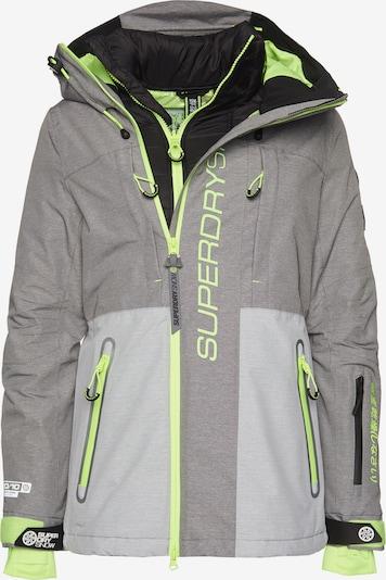 Superdry Snow Outdoorjas 'Slalom Slice' in de kleur Grijs gemêleerd / Limoen, Productweergave