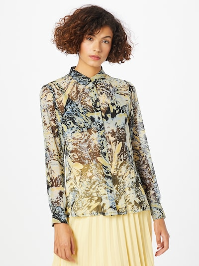 Bluză ICHI pe albastru porumbel / galben / galben deschis / negru, Vizualizare model