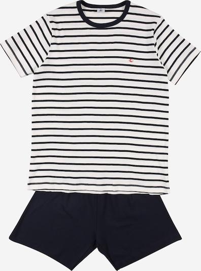 PETIT BATEAU Schlafanzug in grau / weiß, Produktansicht