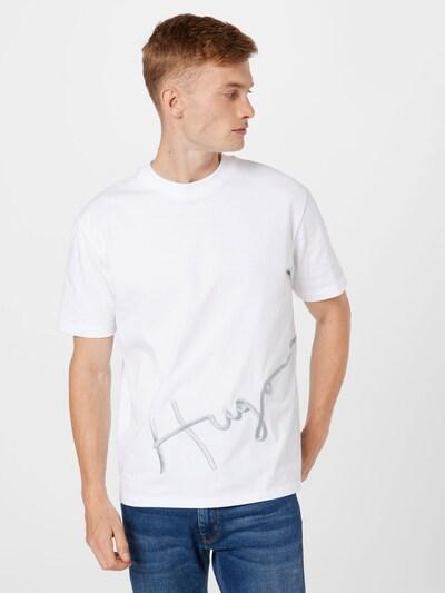 HUGO T-Shirt 'Dresco' in grau / weiß: Frontalansicht