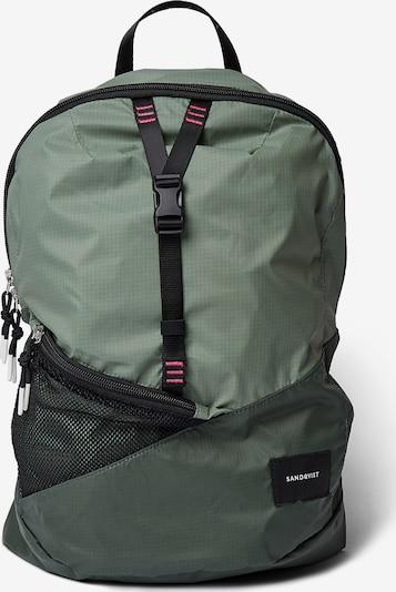 SANDQVIST Rugzak 'ERLAND' in de kleur Groen / Zwart, Productweergave