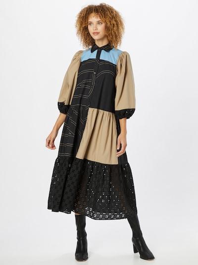 SECOND FEMALE Košeľové šaty 'Dakky' - béžová / modrá / čierna, Model/-ka
