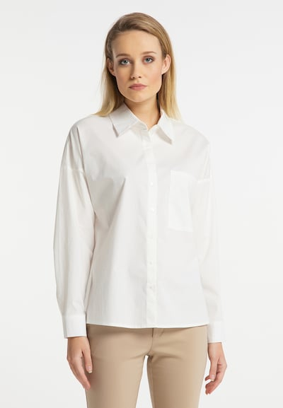 DreiMaster Klassik Bluse in weiß, Modelansicht