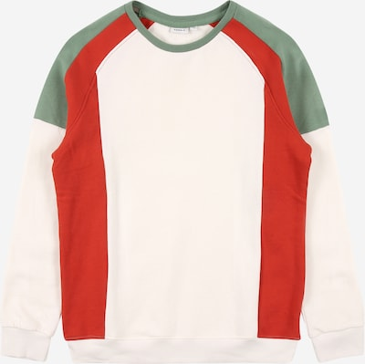 NAME IT Sweatshirt 'NEELO' in beige / dark green / fire red, Item view