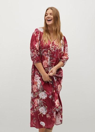 VIOLETA by Mango Kleid in grasgrün / rubinrot / weiß, Modelansicht