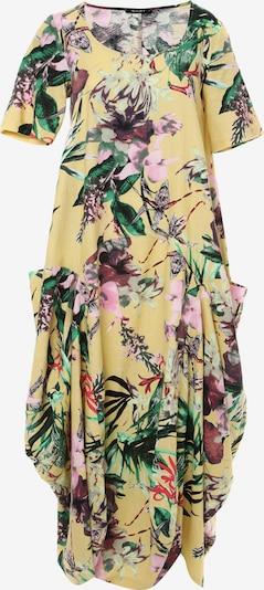 Madam-T Jurk 'KOSKA' in de kleur Geel / Groen / Rosa / Wit, Productweergave