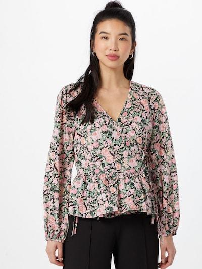 ONLY Bluse 'LAURA' in grün / pastellpink / schwarz, Modelansicht