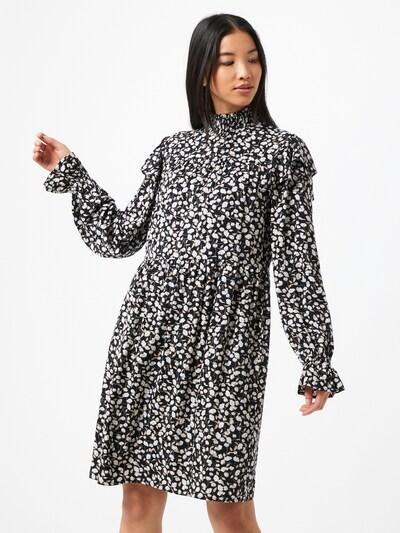 PIECES Kleid in beige / schwarz / weiß, Modelansicht