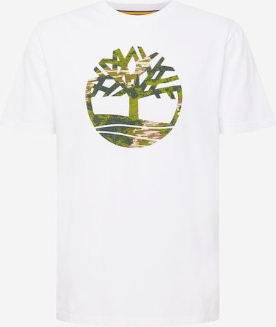 TIMBERLAND T-Shirt en brun foncé / vert / vert foncé / blanc, Vue avec produit