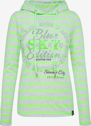 Soccx Streifenshirt mit Kapuze und Frontprint in grau / grün, Produktansicht