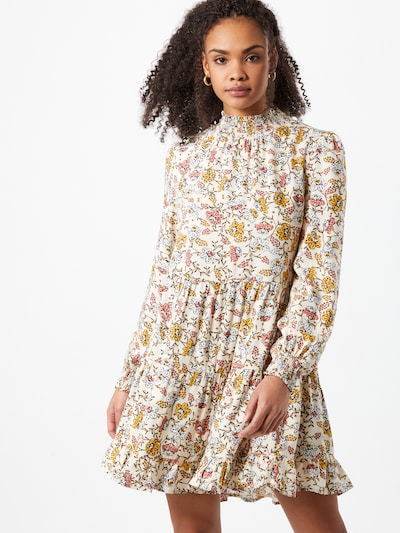 Miss Selfridge Kleid in creme / azur / hellbraun / senf / rosa, Modelansicht
