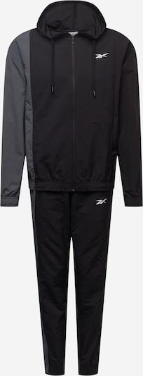 Reebok Sport Trainingsanzug in grau / schwarz / weiß, Produktansicht