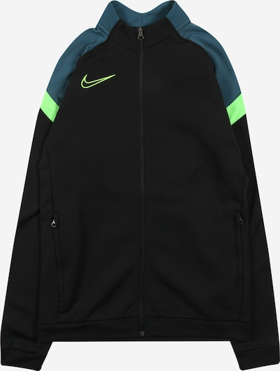 NIKE Sports sweat jacket 'Academy' in petrol / neon green / black, Item view
