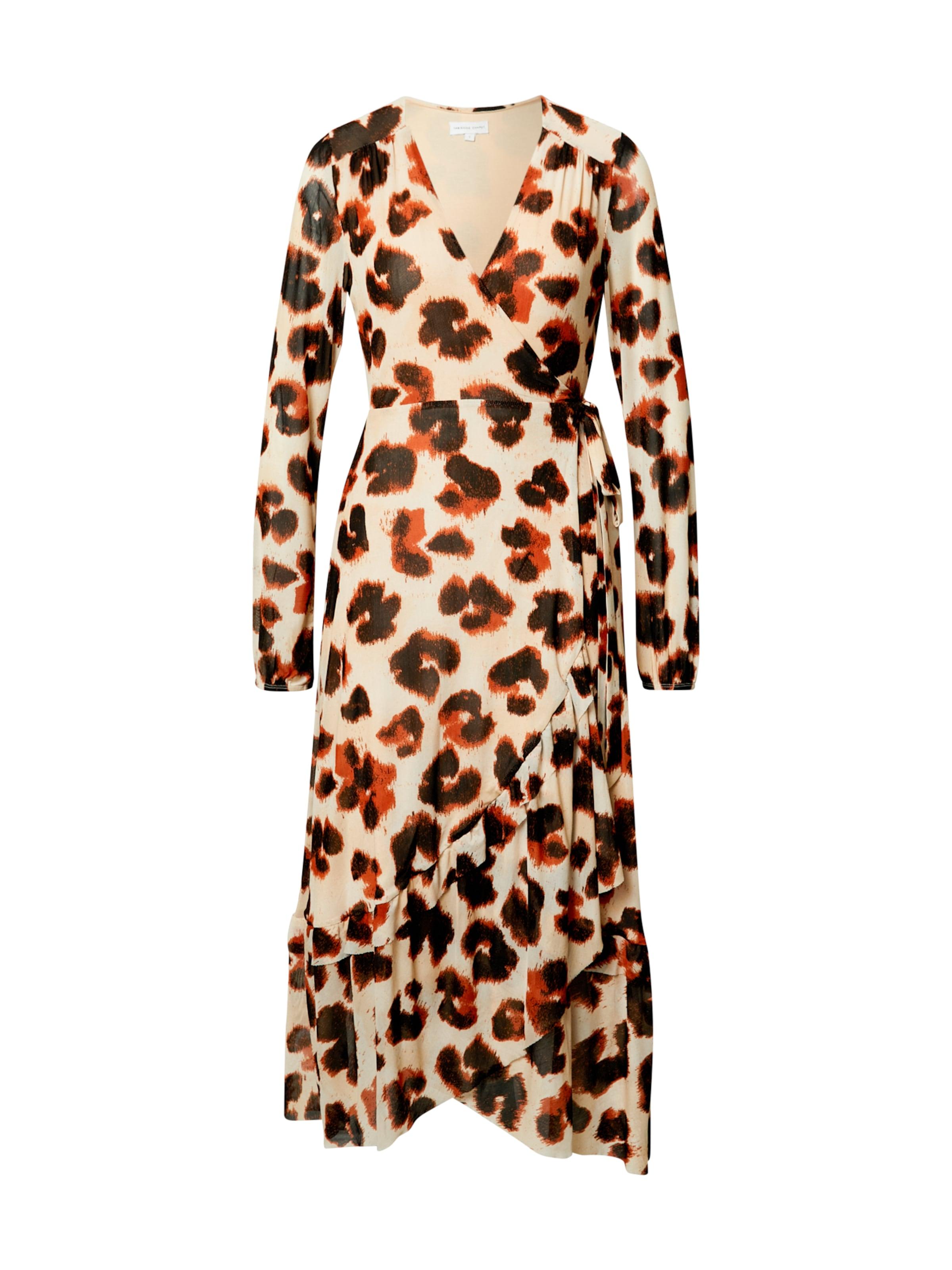 Fabienne Chapot Kleid 'Natasja Frill' in beige / rostbraun / dunkelbraun