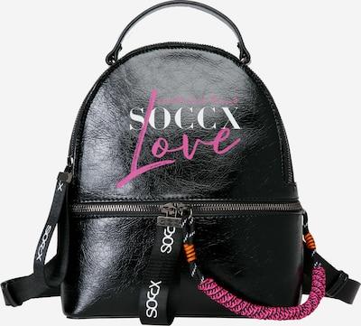 Soccx Kleiner Rucksack mit Logo Print und Kordel in pink / schwarz, Produktansicht