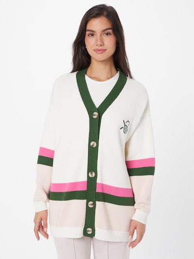 Résumé Strickjacke 'Halba' in grün / pink / pastellpink / weiß, Modelansicht