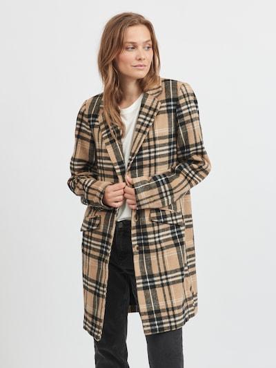 VILA Mantel in hellbraun / schwarz / weiß, Modelansicht