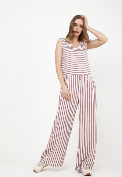 Madam-T Jumpsuit in de kleur Rood / Wijnrood / Wit, Modelweergave