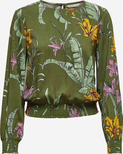 ONLY Blouse 'PALM LIFE' in de kleur Geel / Donkergroen / Pink, Productweergave