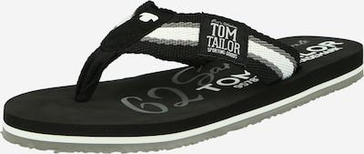 TOM TAILOR Zehentrenner in schwarz / weiß, Produktansicht