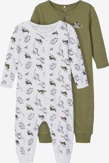 NAME IT Schlafanzug in oliv / schwarz / weiß, Produktansicht