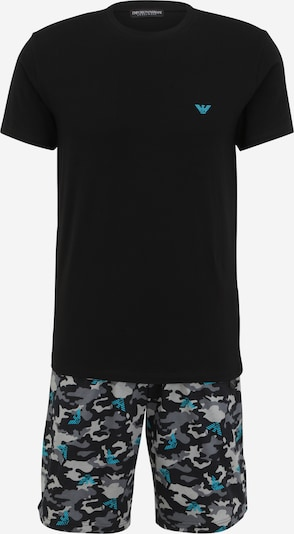 Emporio Armani Pijama corto en azul / gris claro / gris oscuro / negro, Vista del producto
