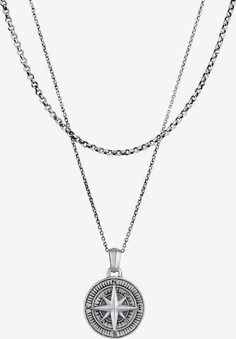 KUZZOI Halskette Kompass, Layer in Silber