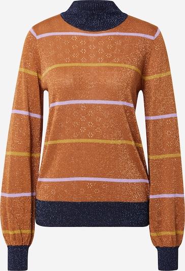 NÜMPH Pullover 'CARWEN' in dunkelblau / braun / dunkelgelb / helllila, Produktansicht