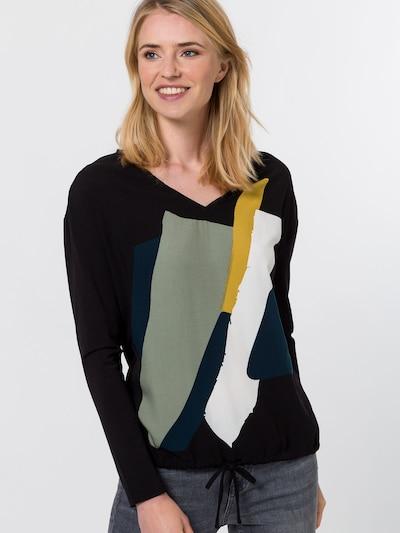 zero Bluse in gelb / petrol / mint / schwarz / weiß, Modelansicht