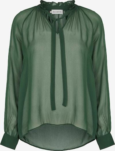 ECHTE Langarm-Bluse mit höherem Kragen und semi-transparentem Finish in grün, Produktansicht