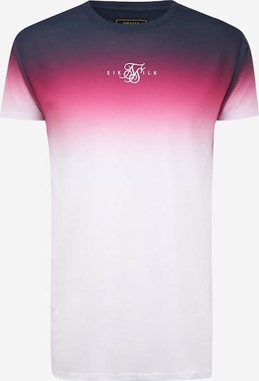SikSilk T-Shirt en bleu nuit / rose / blanc, Vue avec produit