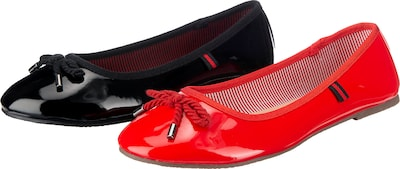 ambellis Klassische Ballerinas im Doppelpack in rot / schwarz, Produktansicht