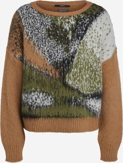 SET Pullover in karamell / basaltgrau / oliv / weiß, Produktansicht