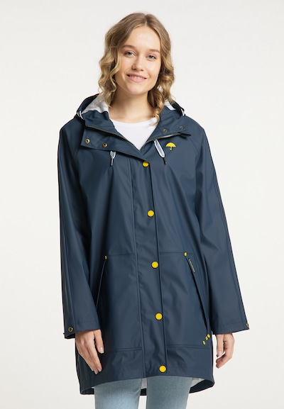 Schmuddelwedda Functionele mantel in de kleur Marine / Limoen, Modelweergave