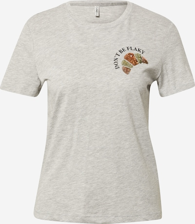 ONLY T-Krekls 'KITA', krāsa - raibi pelēks / gaiši zaļš / pasteļsarkans / melns, Preces skats