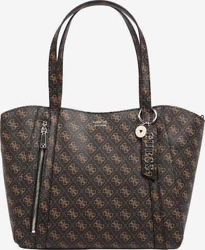 GUESS Shopper torba 'Naya' u konjak / tamno smeđa / srebro, Pregled proizvoda