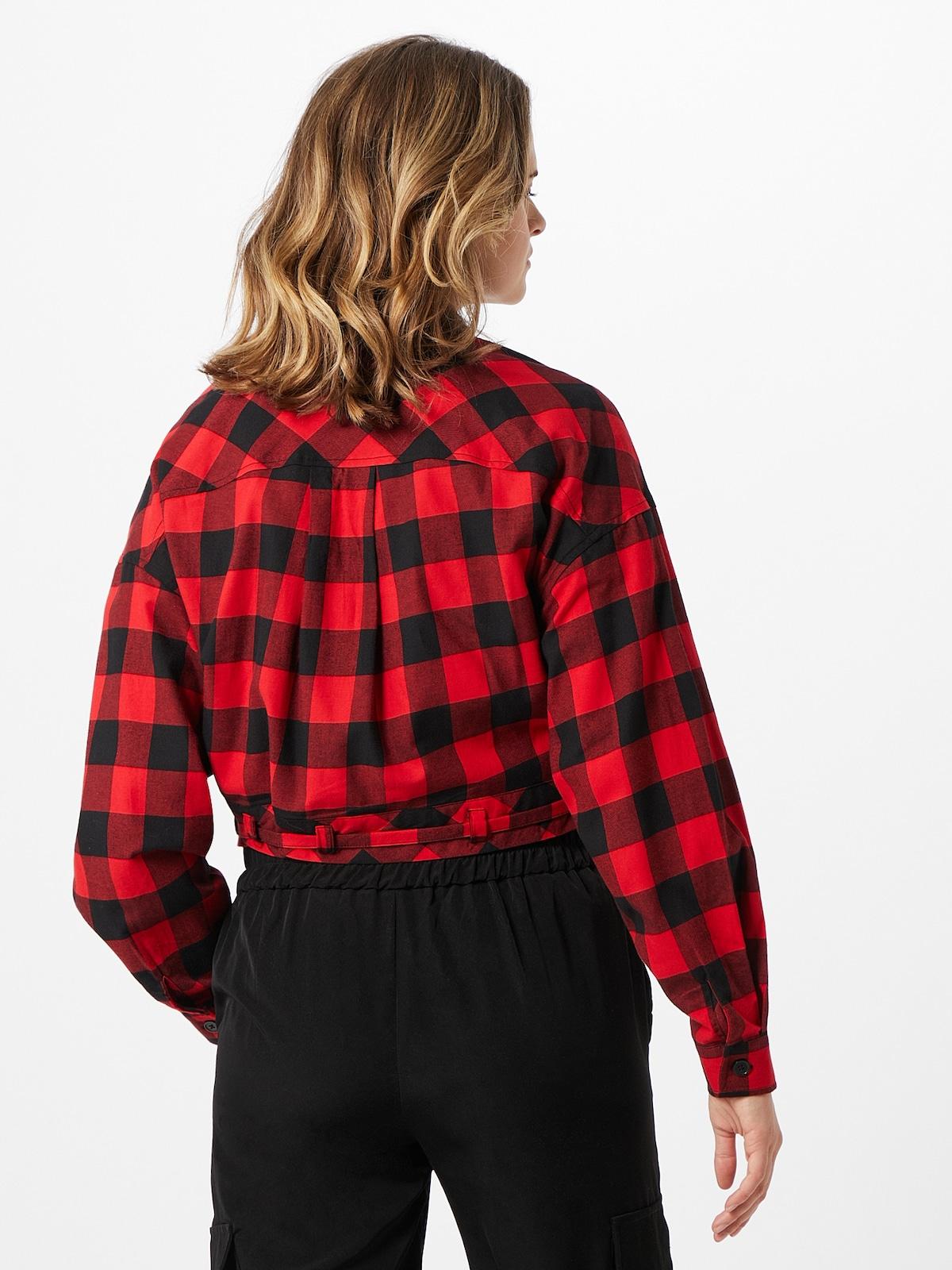 Kleding voor Dames Urban Classics Blouse in Rood / Zwart