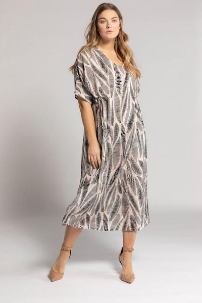 Ulla Popken Kleid in grau / taupe / hellpink, Modelansicht