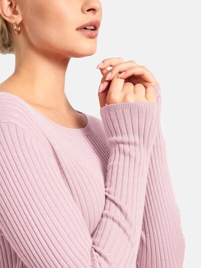 Basler Rippstrick-Pullover mit Rundhalsausschnitt in rosa, Produktansicht