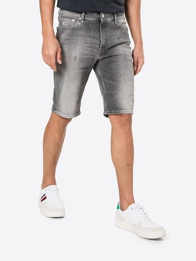 Tommy Jeans Jean 'DAD' en bleu marine / gris denim / rouge clair / blanc, Vue avec modèle